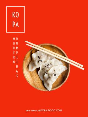 Red Asian Restaurant Flyer with Dumplings Flyer
