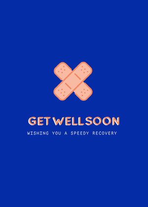 Blue and Orange Get Well Soon Card God bedring-kort