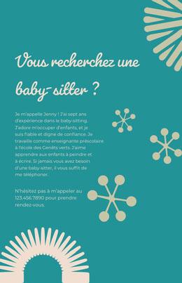 Vous recherchez une baby-sitter? Prospectus