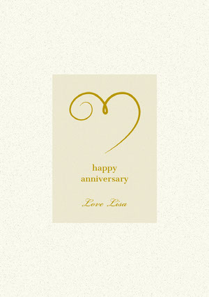 Yellow and Gold Happy Marriage Anniversary Card with Heart Biglietto di anniversario