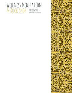 Yellow Beauty Wellness and Spa Business Letterhead with Pattern Wellness
