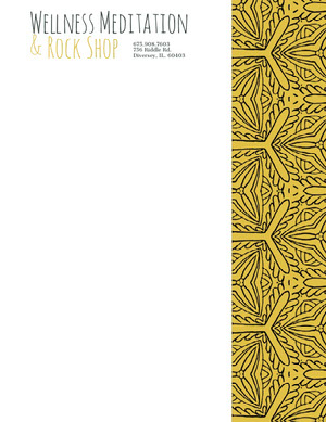 Yellow Beauty Wellness and Spa Business Letterhead with Pattern Carte intestate