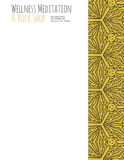 Yellow Beauty Wellness and Spa Business Letterhead with Pattern Letterhead Examples