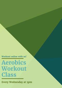 Green Aerobic Workout Class Flyer Exercises