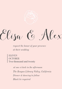 Pink Rose Wedding Invitation Rustic Wedding Invitation