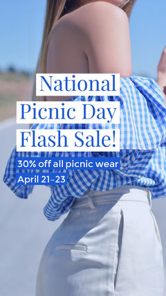 Blue National Picnic Day Clothing Flash Sale Ad Clothing