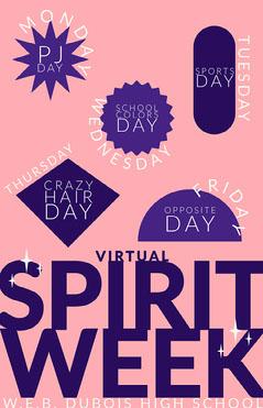 pink virtual spirit week poster Spirit Week