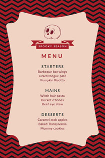 Pink Spooky Season Skull Halloween Party Menu Scary