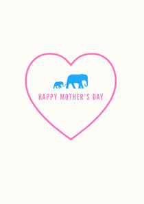 Pink and Blue Illustrated Mothers Day Card with Elephants in Heart Cartão de Dia das Mães