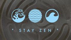 Blue and Gray Illustrated Zen Desktop Wallpaper Background