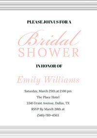 Beige Elegant Bridal Shower Invitation Card with Striped Frame Boda