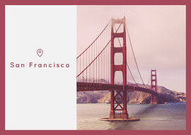 Red San Francisco Postcard with Bridge Postal