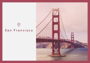 Red San Francisco Postcard with Bridge Carte postale de voyage