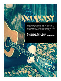 Blue and Orange Toned Open Mic Night Poster Live Music Flyer