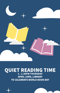 Blue and White Quiet Reading Time Poster  Celebration