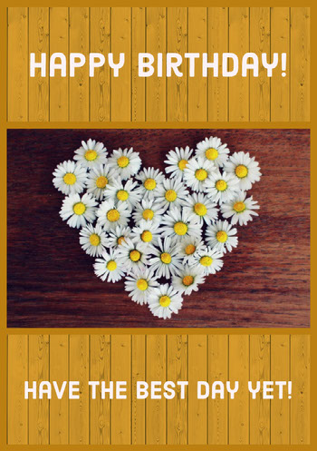 Yellow Floral Happy Birthday Card Birthday Card with Quotes