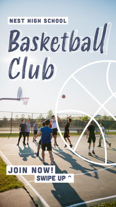 Light Toned, Blue and White, Basketball Club Ad, Instagram Story Teams