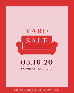 Red and Pink Yard Sale Couch Instagram Portrait Sale Flyer