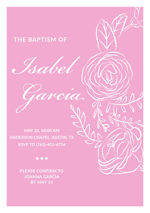 Pink Elegant Floral Daughter Baptism Invitation Card Invitation de baptême