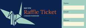 Blue and Navy Blue Raffle Ticket Bilhete de sorteio