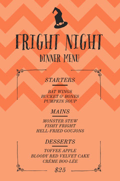 Orange Zig Zag and Witch Hat Halloween Party Menu Halloween Party Menu