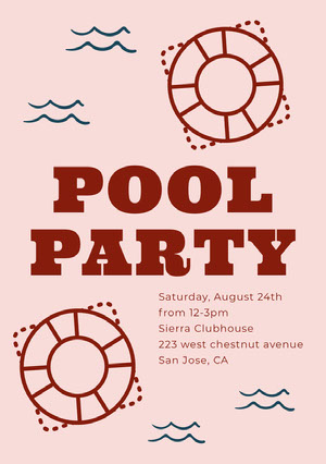 POOL <BR>PARTY  Invitación de fiesta