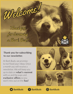Yellow, Light Toned Dog Themed Newsletter Document  Pets