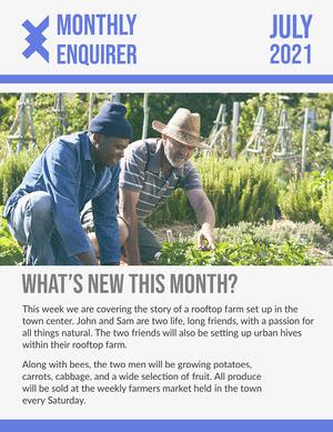 Blue Monthly Enquirer Newsletter Newsletter Examples