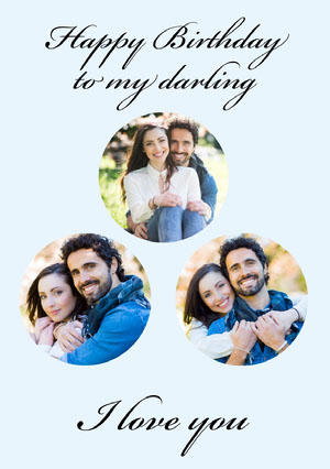 Calligraphy Happy Birthday to Partner Card with Couple Photo Collage Collage fotográfico de cumpleaños