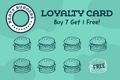 Blue & Green Burger Icon Loyalty Card  Deal