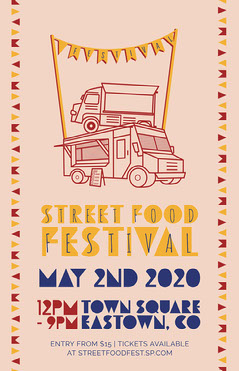 Multicolour Flags and Food Trucks Street Food Festival Poster Food