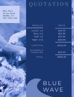 Blue Wave Business Quotation Wave