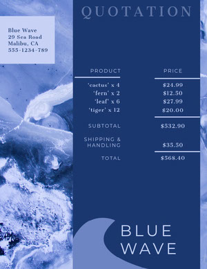 Blue Wave Business Quotation presupuesto