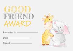 Yellow & Grey Cute Animal Friend Award A4 Print Friends