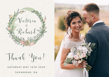 rustic wreath wedding thank you card Bryllupstakkekort