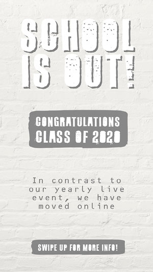 Grey and White Graduation Congratulations and Virtual Party Instagram Story Congratulations Messages