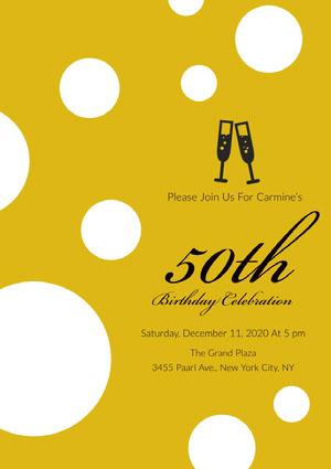 Yellow and White Spotts Birthday Party Invitation 50th Birthday Invitations