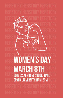 Red Illustrated Womens Day Poster Poster