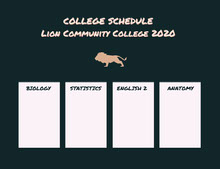 COLLEGE SCHEDULE<BR>Lion Community College 2020 行程表