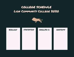 COLLEGE SCHEDULE<BR>Lion Community College 2020 College