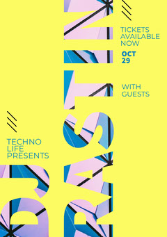 Blue and Yellow, Modern Techno Party Club Ad Poster Club Party