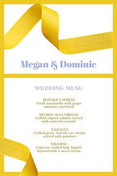Yellow and White Wedding Menu Dinner Menu