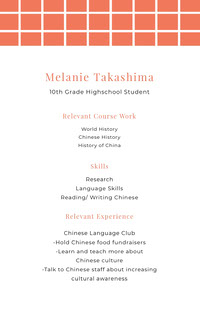 White and Orange Professional Resume Job Application