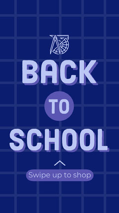 Blue Grid Back To School Instagram Story  Shopping