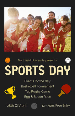 Black and Yellow University Sports Day Event Poster with Children Sports