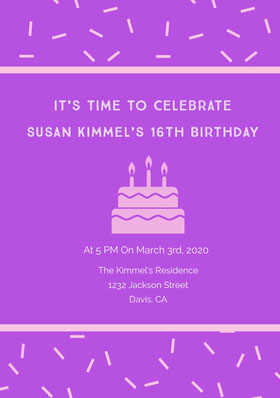 It's Time To Celebrate <BR>Susan Kimmel's 16th Birthday  Invitation d'anniversaire