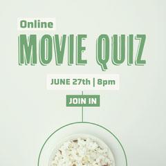 Green & White Popcorn Movie Quiz Instagram Square Movie Night Flyer