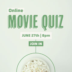 Green & White Popcorn Movie Quiz Instagram Square Quiz Night Poster