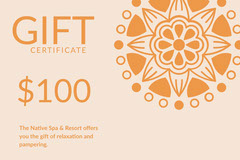 Orange Spa Gift Certificate Coupon with Flower Wellness
