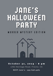 Grey and White Halloween Murder Mystery Party Invitation Festa di Halloween